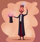 Affiche de cirque avec le magicien Magicien tenant un chapeau avec le lapin Illustration de vecteur de dessin animé illustration libre de droits