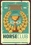Affiche de club de course de chevaux avec la guirlande de laurier illustration libre de droits