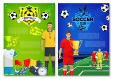 Affiche de club de sport du football avec des éléments illustration libre de droits