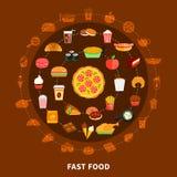 Affiche de composition en cercle de menu d'aliments de préparation rapide Photos stock