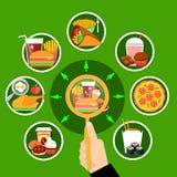 Affiche de composition en cercle de repas de rapide Image libre de droits