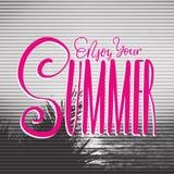 Affiche de concept de voyage rétro Appréciez votre été - lettrage manuscrit, citation de vacances d'été Images libres de droits