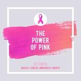 Affiche de conscience de cancer du sein Cancer rose créatif de symbole de ruban de course et de soie de brosse illustration de vecteur