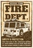 Affiche de corps de sapeurs-pompiers dans le style de vintage avec le camion illustration stock