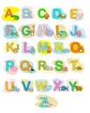 Affiche de couleur d'enfants d'ABC d'animaux de bébé d'alphabet Image libre de droits