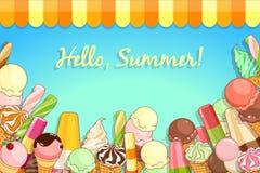 Affiche de crème glacée  Crème glacée brillamment colorée, cônes de gaufre, glaces à l'eau sur un beau fond Illustration de dessi Images stock