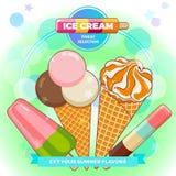 Affiche de crème glacée  Crème glacée brillamment colorée, cônes de gaufre, glaces à l'eau sur un beau fond Illustration de dessi Photographie stock