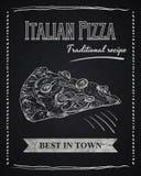 Affiche de craie avec la tranche de pizza illustration de vecteur