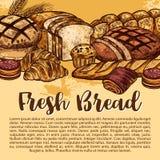Affiche de croquis de pain de vecteur pour la boutique de boulangerie Image libre de droits