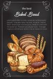 Affiche de croquis de pain de vecteur pour la boutique de boulangerie Image stock
