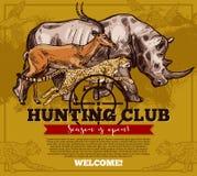 Affiche de croquis de saison ouverte de club de chasse de vecteur illustration libre de droits