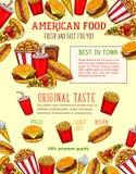 Affiche de croquis de vecteur d'aliments de préparation rapide des casse-croûte de prêt-à-manger Image libre de droits