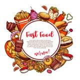 Affiche de croquis de vecteur de menu de restaurant de prêt-à-manger Illustration de Vecteur