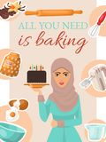 Affiche de cuisson de concept, bannière Gâteau d'anniversaire de fixation de femme avec des bougies Ustensiles et ingrédients de  illustration de vecteur