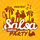 Affiche de danse de Salsa pour la partie Couples cubains, paumes, instruments de musique illustration stock