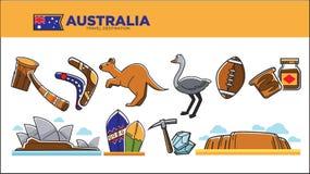 Affiche de destination de voyage d'Australie avec l'ensemble de symboles nationaux illustration libre de droits