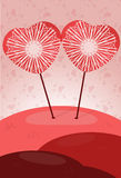 Affiche de deux coeurs Photo stock