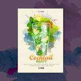 Affiche de disco d'aquarelle de cocktail Images libres de droits