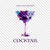 Affiche de disco d'aquarelle de cocktail Photo libre de droits