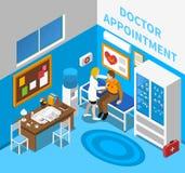 Affiche de docteur Examining Patient Isometric Photographie stock
