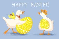 Affiche de félicitation, carte d'invitation avec le canard heureux mignon et poulet Photographie stock