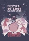 Affiche de festival de concept d'illustration de livre Conception graphique moderne pour le festival, exposition, boutique illustration stock