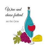 Affiche de festival du vin Conception pour l'événement de vin Image stock