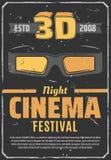 Affiche de festival de soirée cinéma du cinéma 3D rétro illustration de vecteur