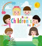Affiche de fond du jour des enfants heureux avec le signe heureux de participation d'enfants, enfants piaulant derrière la plaque illustration de vecteur