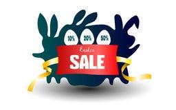 Affiche de fond de vente de Pâques avec le pourcentage d'oeufs et de remises Lapin mignon de bande dessinée avec les oeufs coloré illustration libre de droits