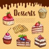 Affiche de gaufre de vecteur avec des tartes de gâteau de dessert illustration libre de droits