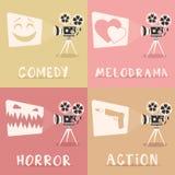 Affiche de genres de film Illustration de vecteur de dessin animé Projecteur et maïs éclaté de film illustration libre de droits