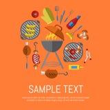 Affiche de gril de barbecue, calibre de conception Photographie stock libre de droits