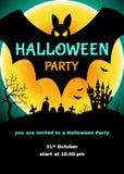 Affiche de Halloween avec le château, le cimetière, les battes et la lune illustration de vecteur