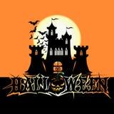 Affiche de Halloween avec le château foncé illustration stock