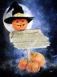 Affiche de Halloween avec des potirons image libre de droits