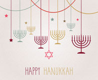 Affiche de Hanoucca Menorah coloré accrochant Image stock