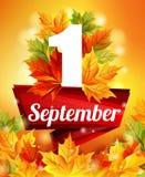 Affiche de haute qualité du 1er septembre, feuilles d'automne réalistes, le premier appel Ruban rouge dessus Illustration courant Images libres de droits