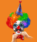 Affiche de Head Colorful Background de clown de cirque Photos stock