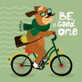 Affiche de hippie avec le chien de ballot Photos libres de droits