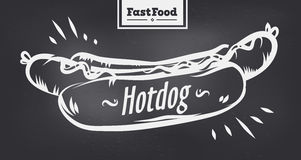 Affiche de hot dog avec la conception fraîche Photographie stock libre de droits