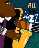 Affiche de jazz Matraquage du style contemporain de plaquette de musique de saxo, insecte moderne de jazz de saxophoniste de club illustration de vecteur