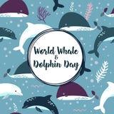 Affiche de jour de baleine et de dauphin du monde Photographie stock libre de droits