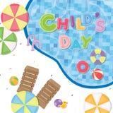 Affiche de jour d'enfants Objets mignons comme parapluies, chaise et anneau de plage à la piscine Image stock
