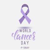 Affiche de jour de Cancer du monde avec calligrphy 4 février Images stock