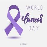 Affiche de jour de Cancer du monde avec l'inscription de calligraphie Bande pourprée Photographie stock