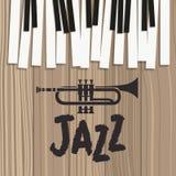 Affiche de jour de jazz avec le clavier et la trompette de piano illustration stock