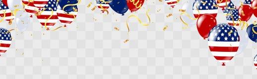 Affiche de Jour de la Déclaration d'Indépendance des Etats-Unis avec des ballons à air et avec une guirlande illustration stock