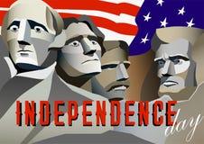 Affiche de Jour de la Déclaration d'Indépendance des Etats-Unis Monument de Rushmore, illustration de vecteur illustration stock