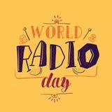Affiche de jour par radio du monde illustration stock